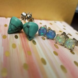 Jewelry - Sterling silver white and blue opal earrings&other